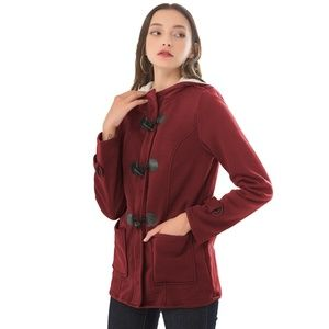 Red Horn buckle Cotton Thicken Coat (7580)